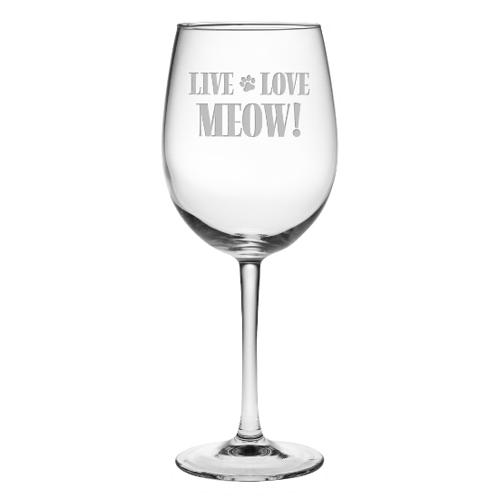 Live Love Meow! All Purpose Wine Glasses (set of 4)