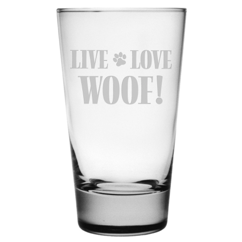 Live Love Woof Highball Cocktail Glasses (set of 4)