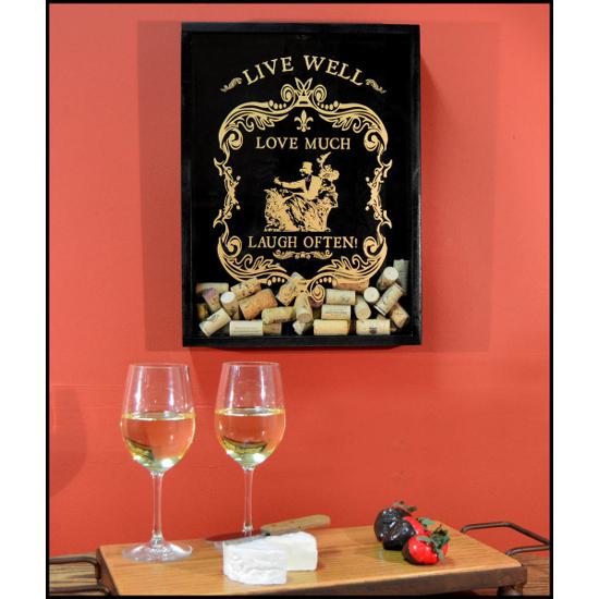 Live Well Wine Cork Catcher Wall Display