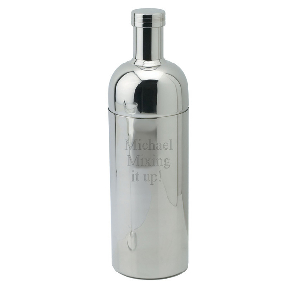 Engraved Modern Silver Martini Shaker