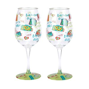 Happy Birthday Acrylic Wine Glasses