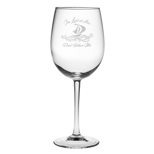 Lost at Sea Etched Stemmed Wine Glasses (set of 4)