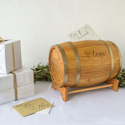 Love Wine Barrel Reception Card Holder