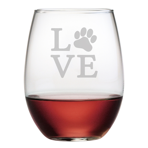 Love Paw Stemless Wine Glasses (set of 4)