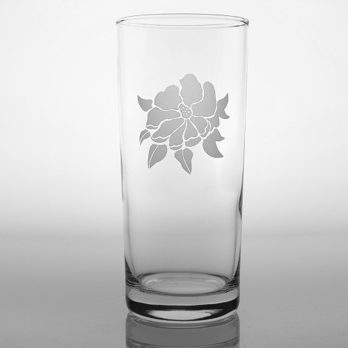 Etched Magnolia Cooler Glasses (set of 4)