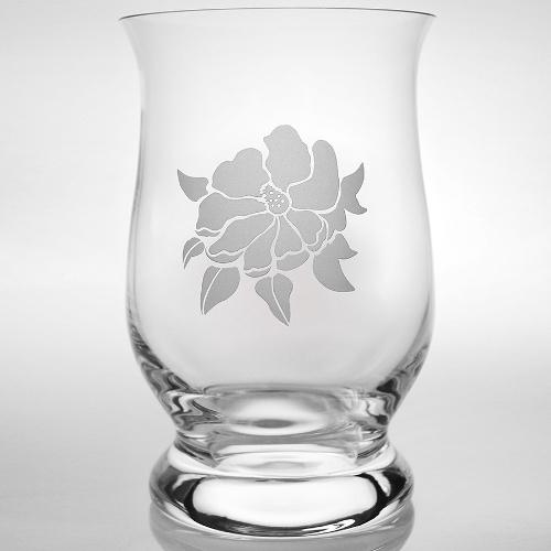 Etched Magnolia Hurricane Vase