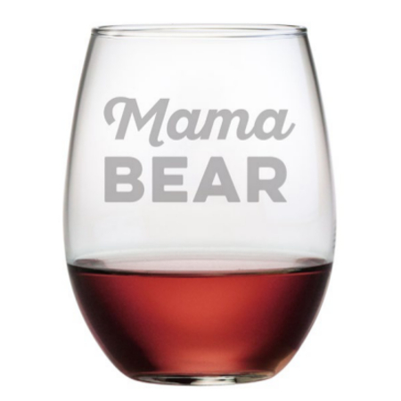 Mama Bear Stemless Wine Glasses