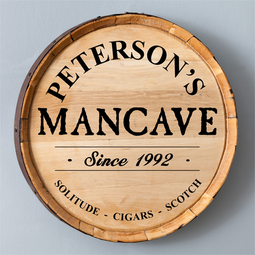 Man Cave Whiskey Barrel Sign