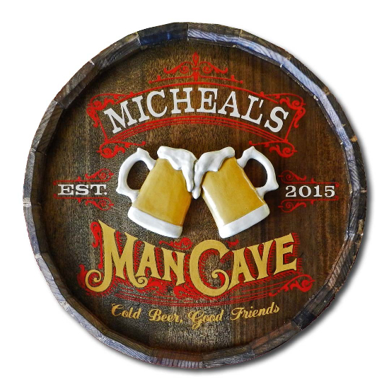 Man Cave Personalized Quarter Barrel Sign