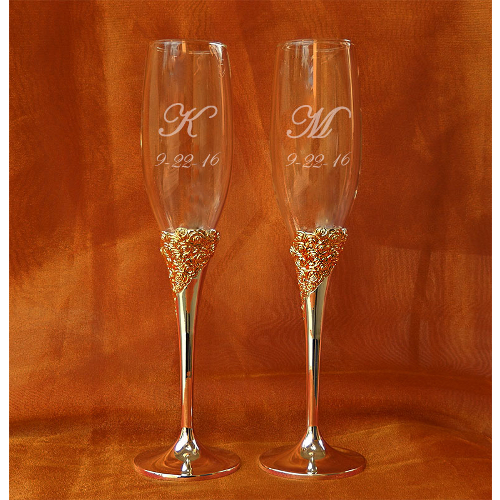 Personalized Lenox Marchesa Rose Crystal Champagne Flutes