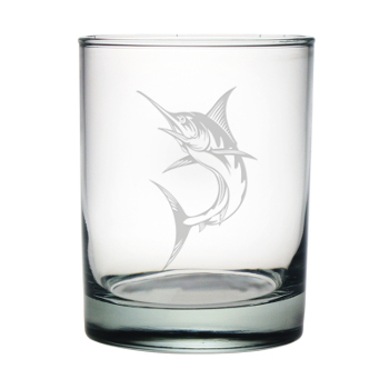Marlin Etched Double On the Rocks Glasses (set of 4)