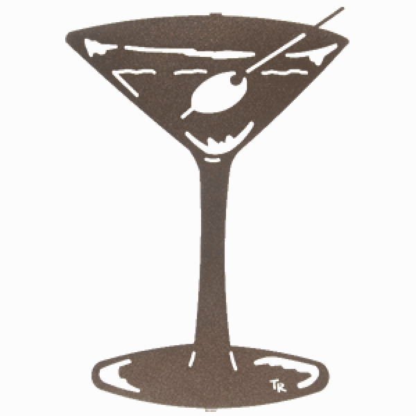 Martini Glass Metal Wall Art