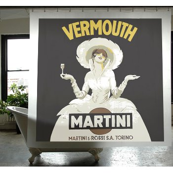 Martini Vintage Poster Shower Curtain