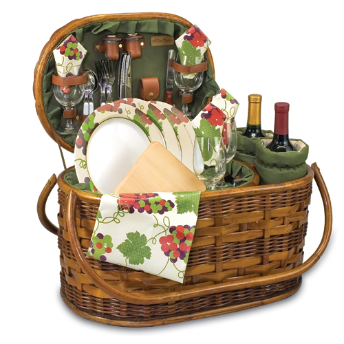 Merlot Deluxe Bamboo Picnic Basket with 2 Wine Duffels