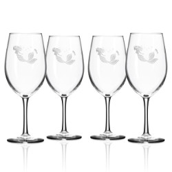 Mermaid White Wine Glasses (set of 4)