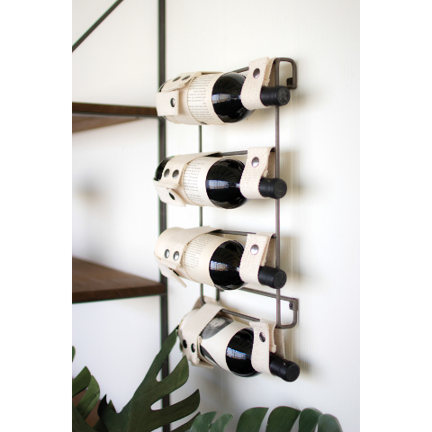 Metal and Canvas Wall Wine Rack