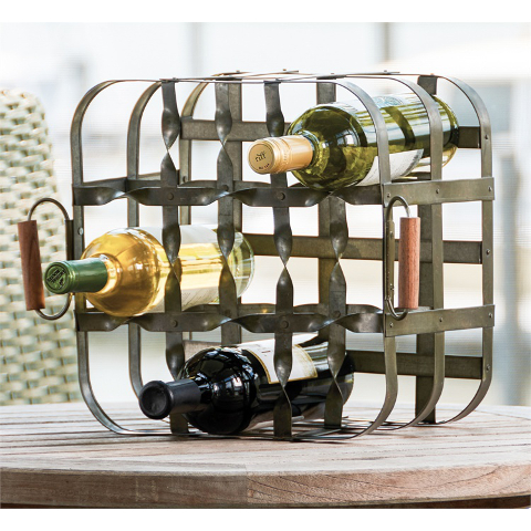 Vintage Milk Crate Nine Bottle Wine Rack