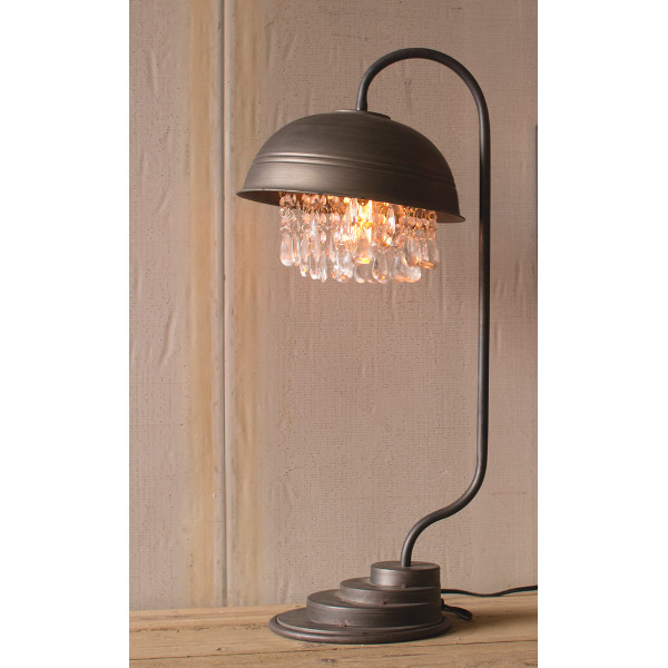 Metal Dome Table Lamp with Crystal Droplets