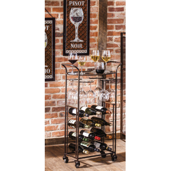 Vintage Metal Wine Serving Cart