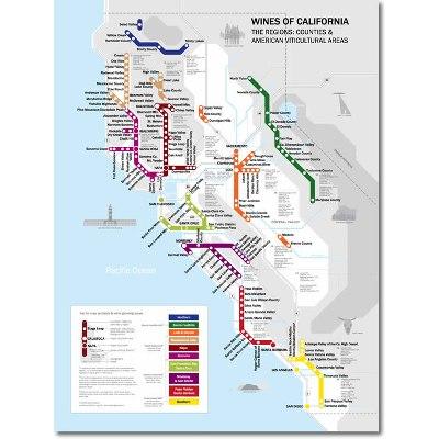 Delong's Metro Wine Map of California