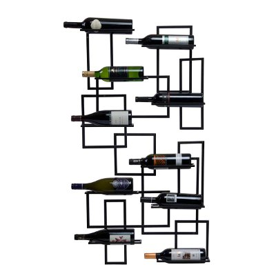 Mid Century Wall Mount 10 Bottle Wine Rack