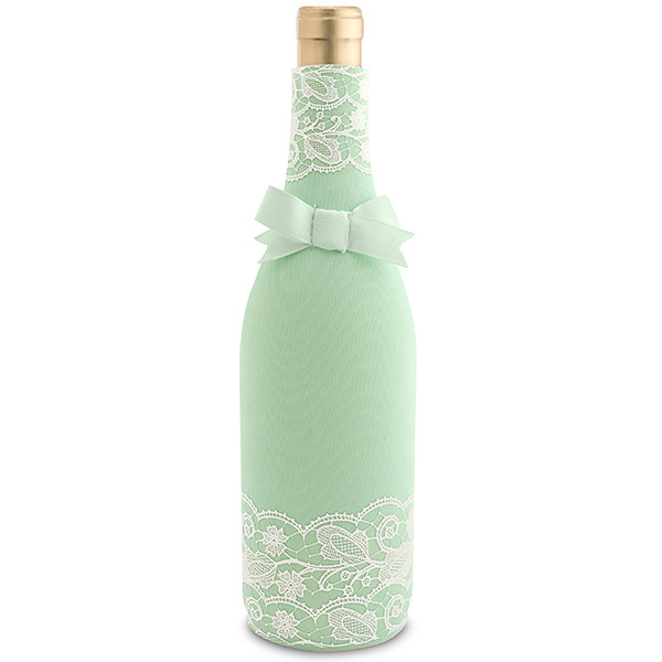 Mint Lace Neoprene Wine Bottle Koozie