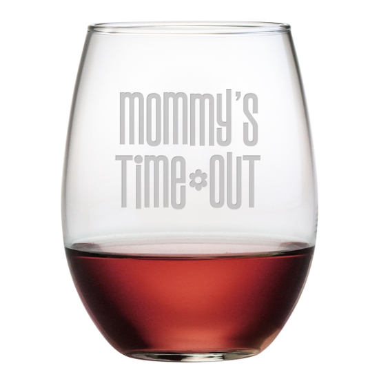 Mommy's Time Out Stemless Wine Glasses (set of 4)