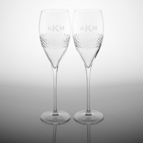 Personalized Diamond Band Champagne Glasses (set of 2)