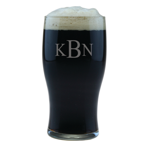 Monogrammed Pub Beer Glasses (set of 4)