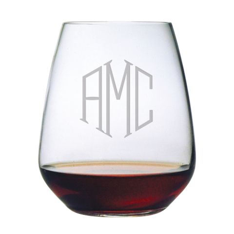 Monogrammed Stemless Wine Glasses (set of 4)