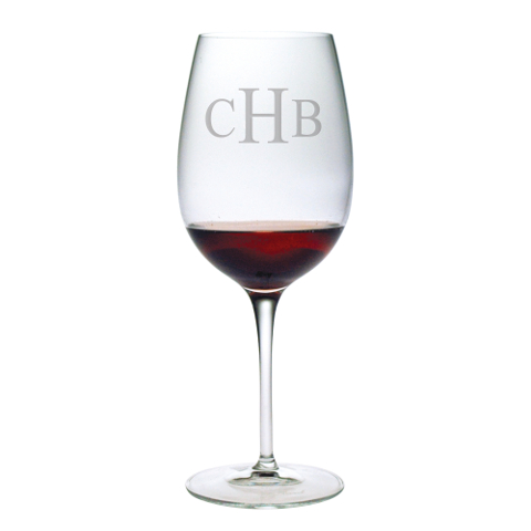 Monogrammed Stemmed Bordeaux Glasses (set of 4)