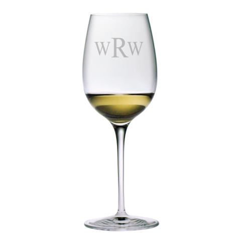 Monogrammed Stemmed Chardonnay White Wine Glasses (set of 4)