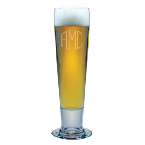 Monogrammed Tall Pilsner Glasses (set of 4)