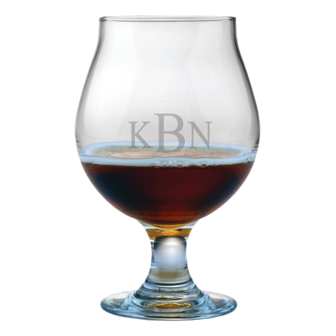 Monogrammed Tulip Shaped Beer Glasses (set of 4)
