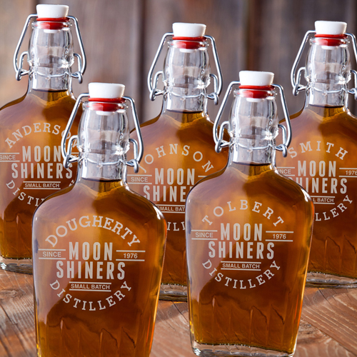 Vintage Moonshine Glass Flask Set (Set of 5)