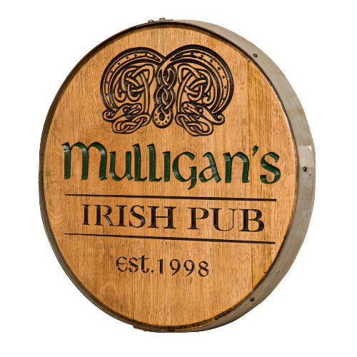 Irish Pub Personalized Whiskey Barrel Head