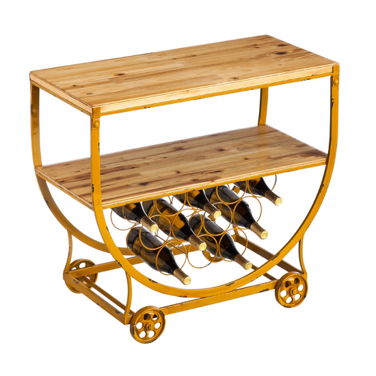 Mustard Yellow Wine Cart on Wheels