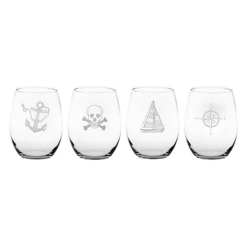 Mutiny Assorted Stemless Wine Glasses (set of 4)