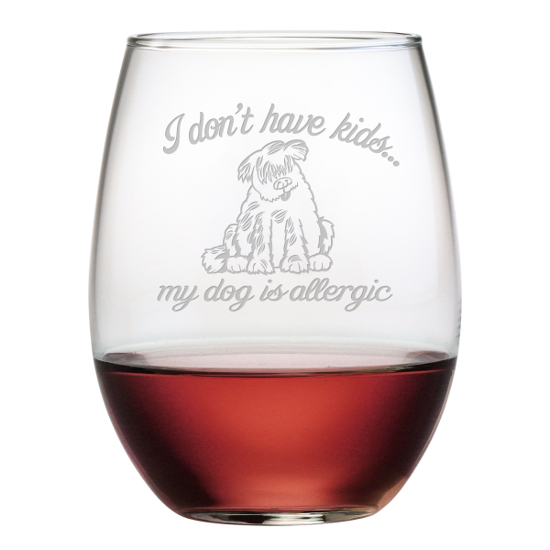 Dog Is Allergic Stemless Wine Glasses (set of 4)