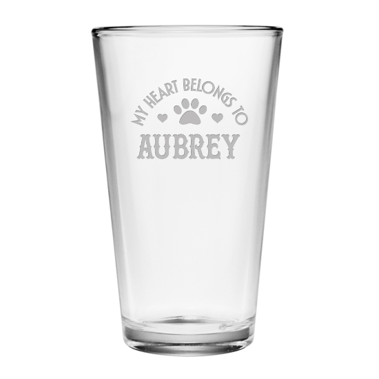 My Heart Belongs Personalized Pint Glasses (set of 4)