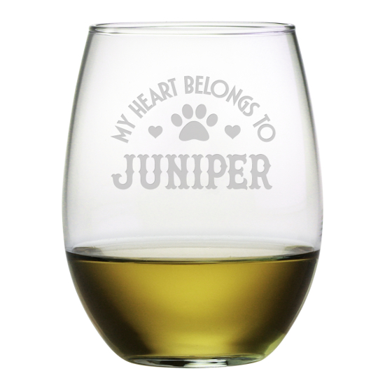 My Heart Belongs Personalized Stemless Wine Glasses (set of 4)