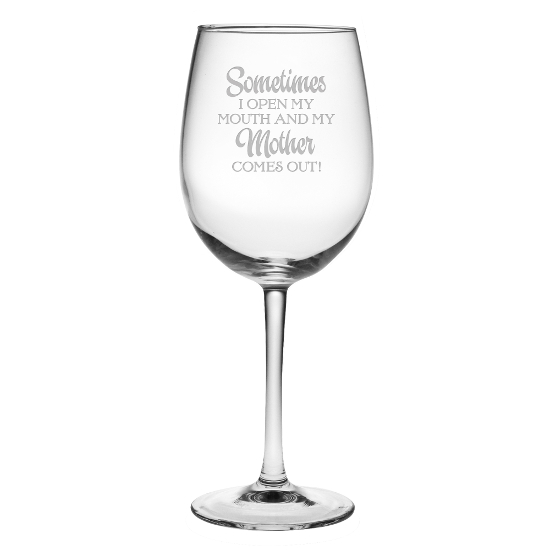 My Mother Comes Out Stemmed Wine Glasses (set of 4)