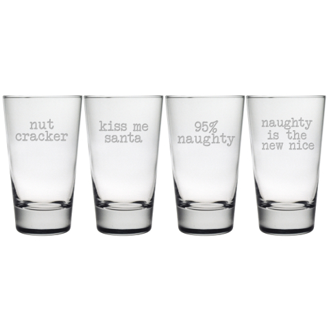 Naughty Christmas Highball Glasses (set of 4)