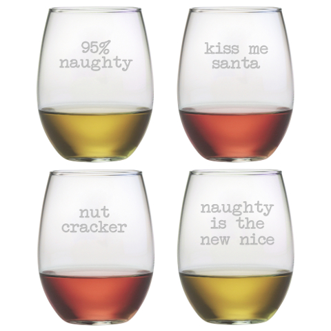 Naughty Christmas Stemless Wine Glasses (set of 4)