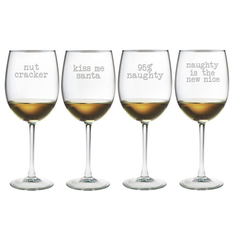Naughty Christmas Stemmed Wine Glasses (set of 4)