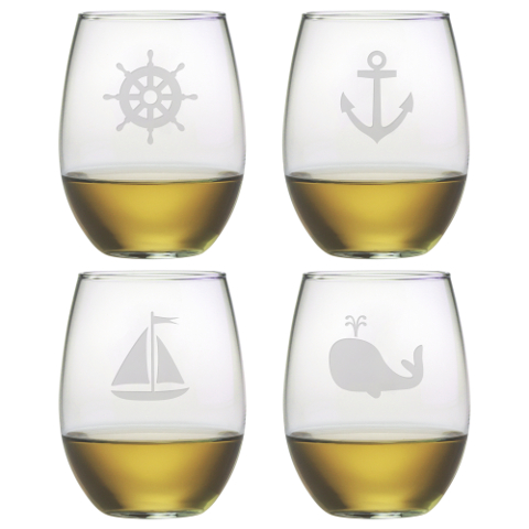 Nautical Seafarer Stemless Wine Glasses (set of 4)