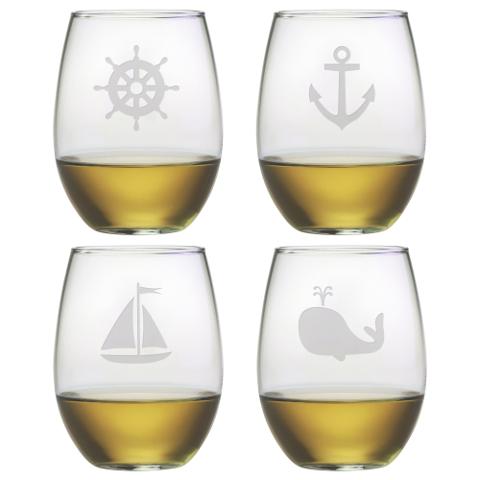 Nautical Seafarer Stemless Wine Glasses (set of 4)