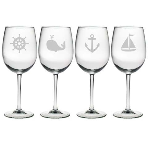 Nautical Icons Stemmed Wine Glasses (set of 4)