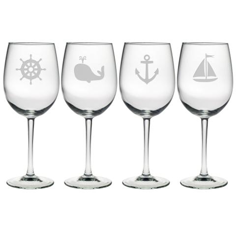 Nautical Icons Stemmed Wine Glasses (set of 4)