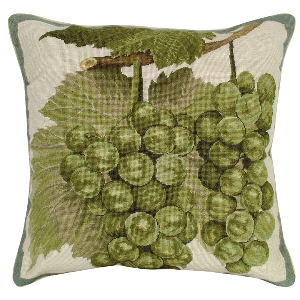 Green Grapes Needlepoint Pillow by Helene Verin
